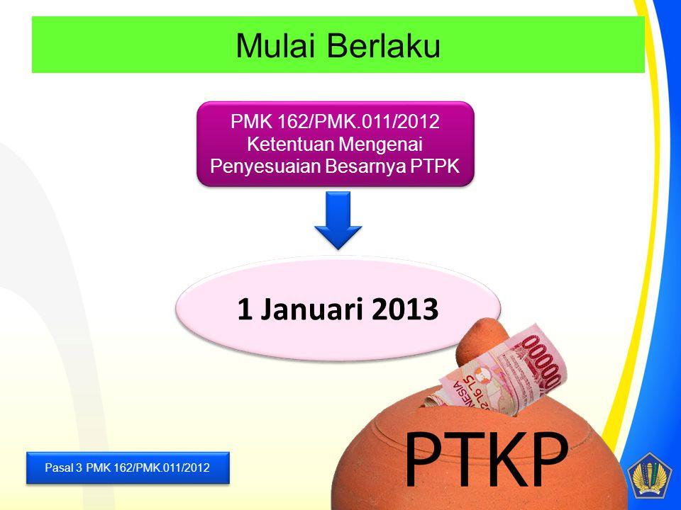 Mulai Berlaku Pasal 3 PMK 162/PMK.011/2012 PMK 162/PMK.011/2012 Ketentuan Mengenai Penyesuaian Besarnya PTPK PMK 162/PMK.011/2012 Ketentuan Mengenai P