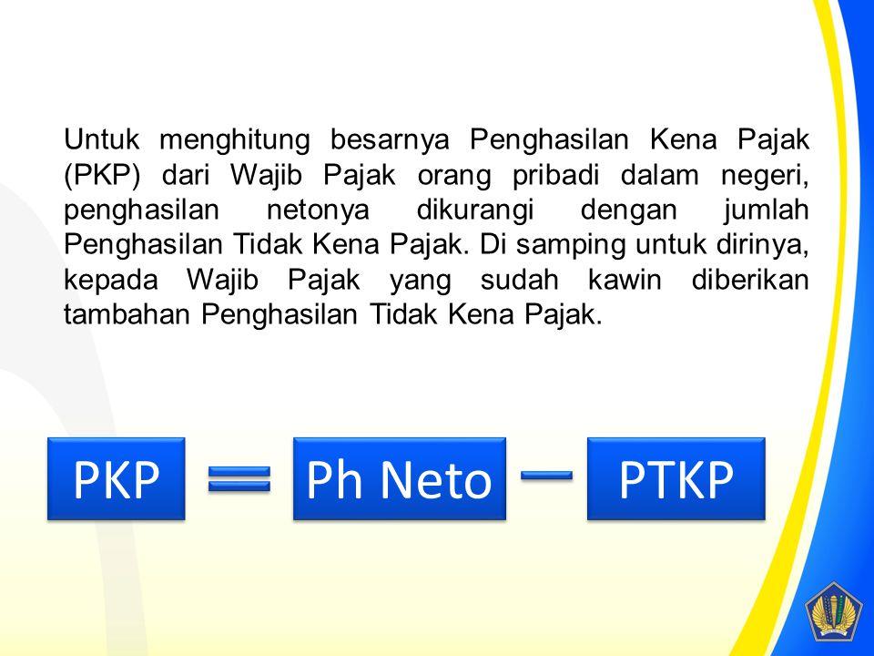 Untuk menghitung besarnya Penghasilan Kena Pajak (PKP) dari Wajib Pajak orang pribadi dalam negeri, penghasilan netonya dikurangi dengan jumlah Pengha