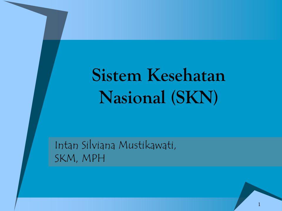1 Intan Silviana Mustikawati, SKM, MPH Sistem Kesehatan Nasional (SKN)