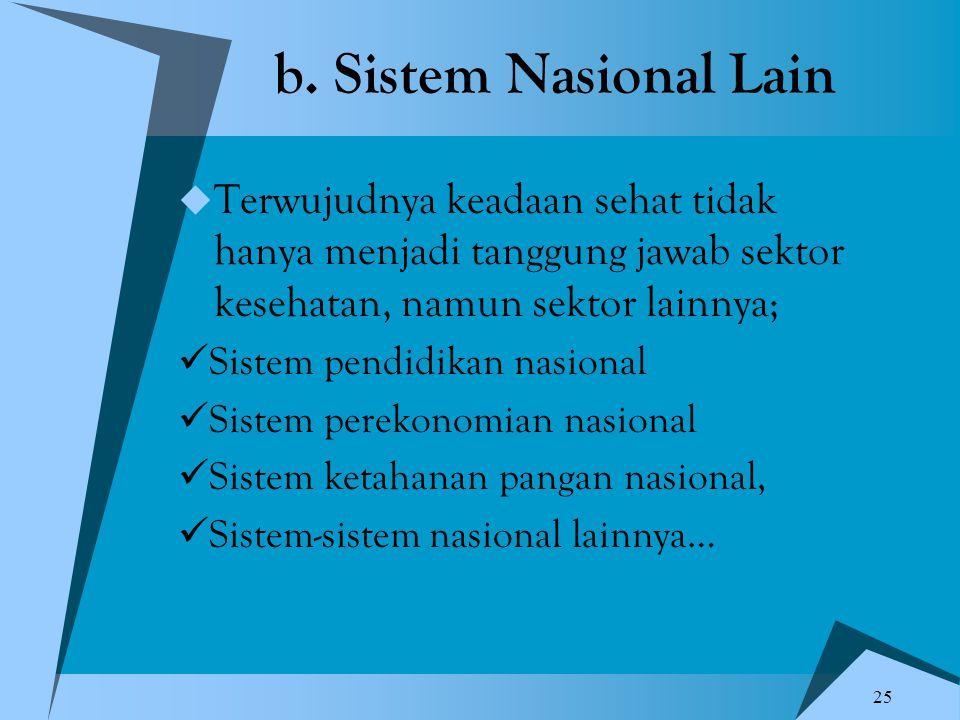 25 b. Sistem Nasional Lain  Terwujudnya keadaan sehat tidak hanya menjadi tanggung jawab sektor kesehatan, namun sektor lainnya; Sistem pendidikan na