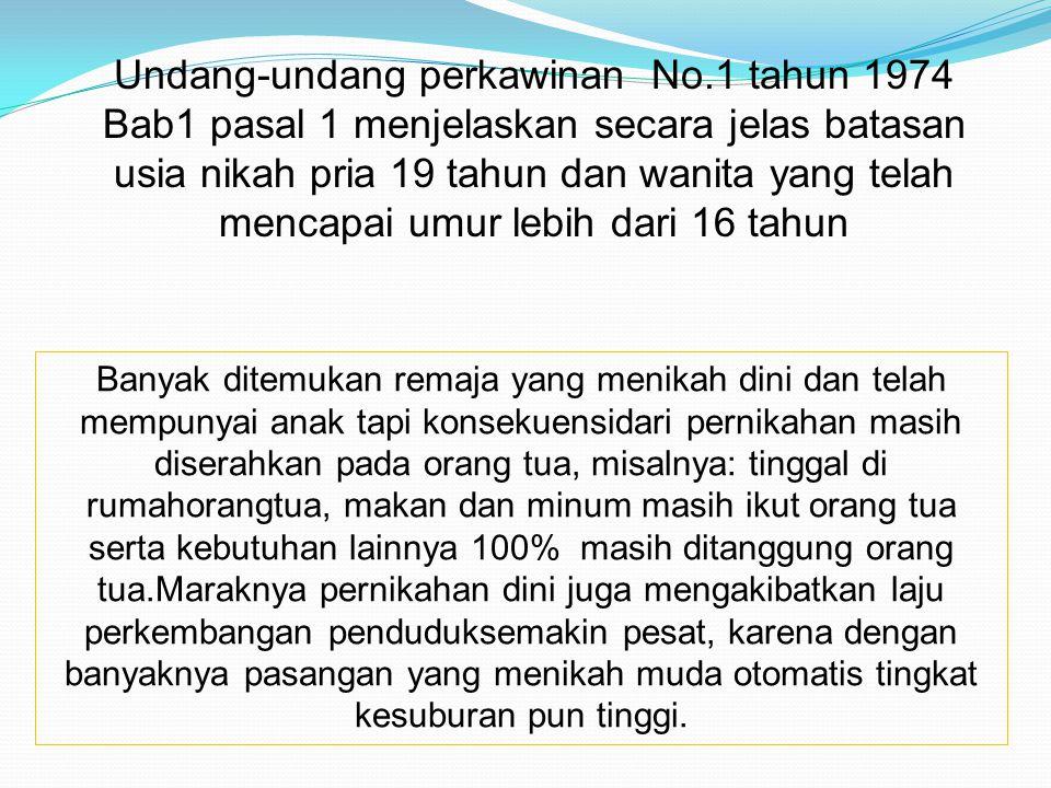 Undang-undang perkawinan No.1 tahun 1974 Bab1 pasal 1 menjelaskan secara jelas batasan usia nikah pria 19 tahun dan wanita yang telah mencapai umur le