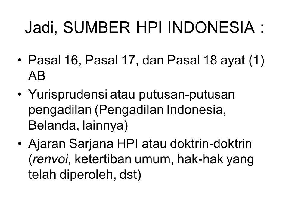 Jadi, SUMBER HPI INDONESIA : Pasal 16, Pasal 17, dan Pasal 18 ayat (1) AB Yurisprudensi atau putusan-putusan pengadilan (Pengadilan Indonesia, Belanda