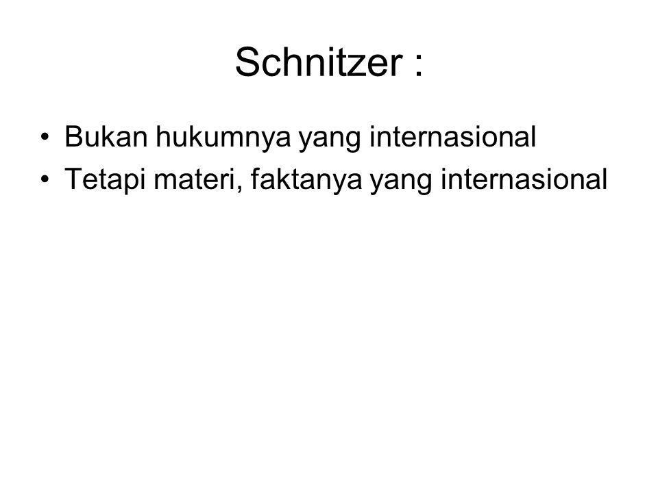Schnitzer : Bukan hukumnya yang internasional Tetapi materi, faktanya yang internasional