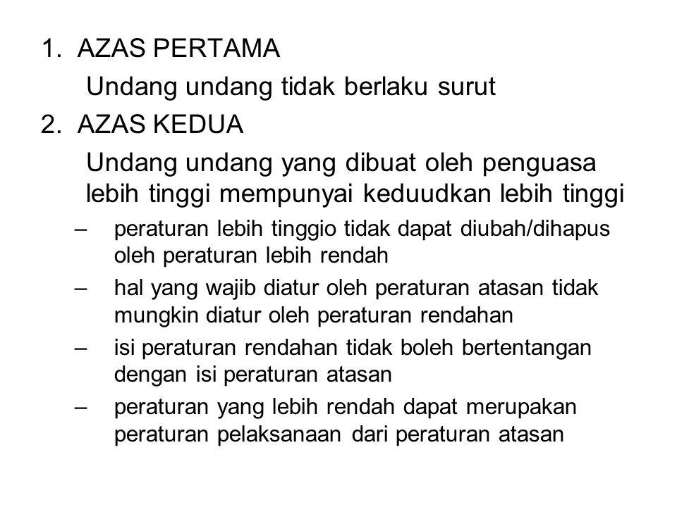 1.AZAS PERTAMA Undang undang tidak berlaku surut 2.