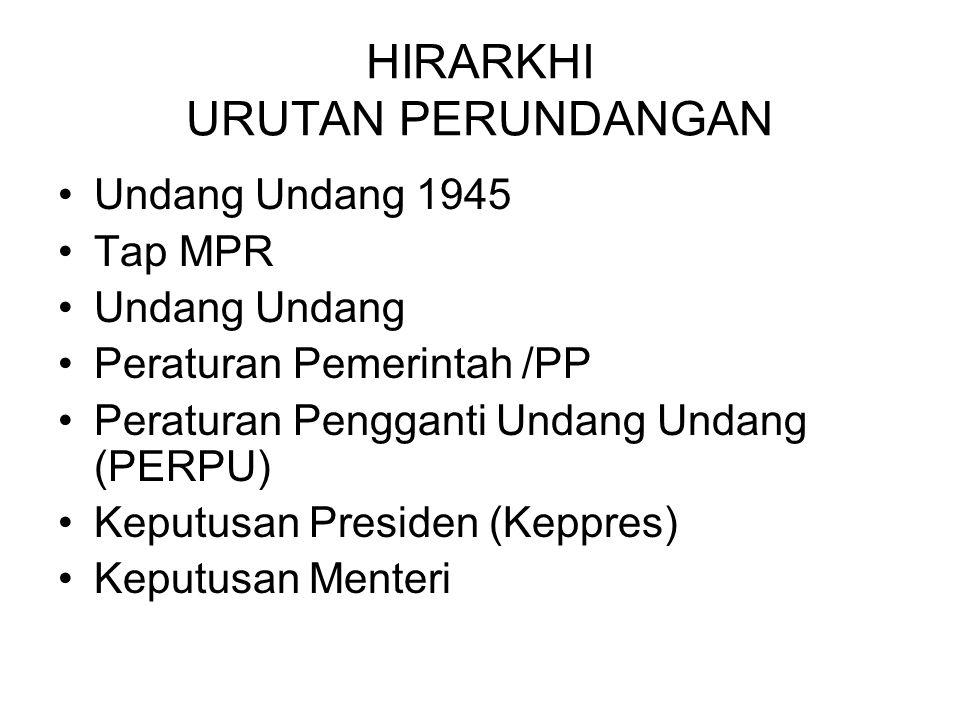 HIRARKHI URUTAN PERUNDANGAN Undang Undang 1945 Tap MPR Undang Peraturan Pemerintah /PP Peraturan Pengganti Undang Undang (PERPU) Keputusan Presiden (Keppres) Keputusan Menteri