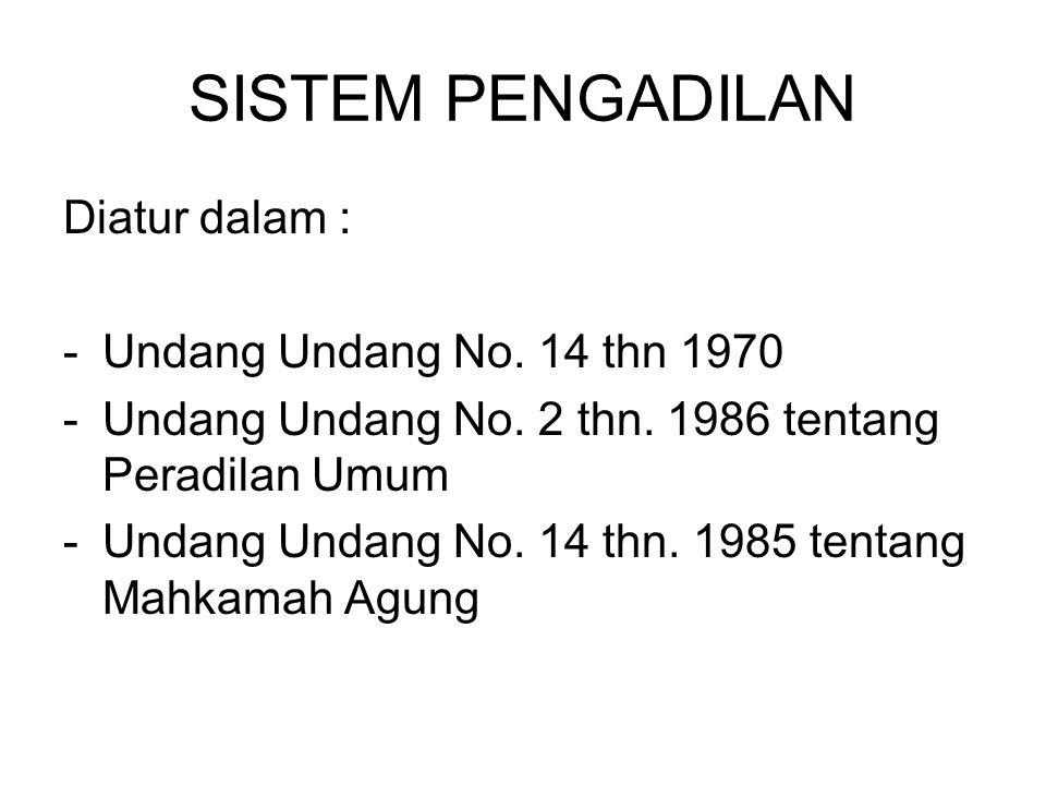 SISTEM PENGADILAN Diatur dalam : -Undang Undang No. 14 thn 1970 -Undang Undang No. 2 thn. 1986 tentang Peradilan Umum -Undang Undang No. 14 thn. 1985