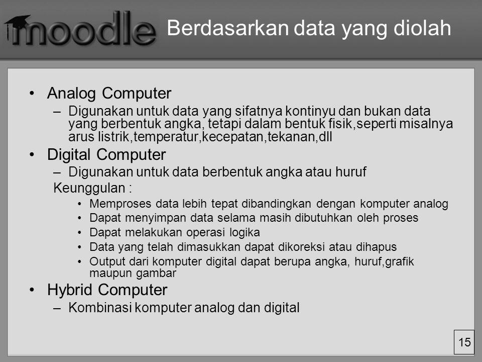 15 Berdasarkan data yang diolah Analog Computer –Digunakan untuk data yang sifatnya kontinyu dan bukan data yang berbentuk angka, tetapi dalam bentuk