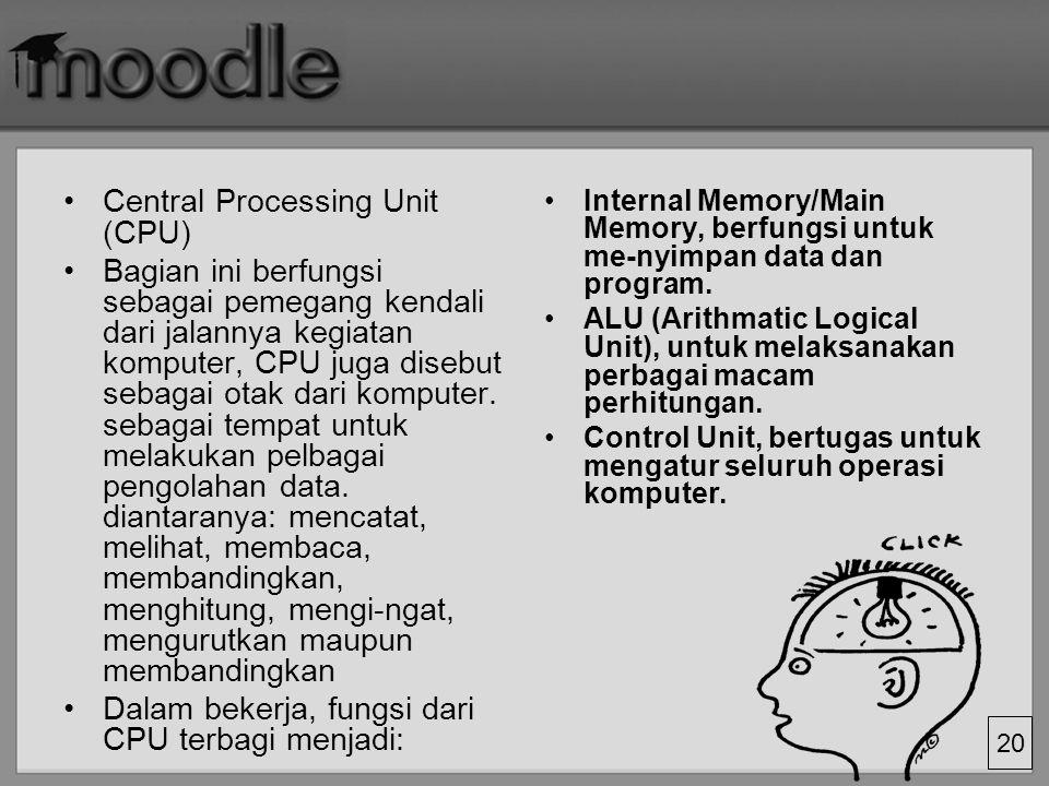 20 Central Processing Unit (CPU) Bagian ini berfungsi sebagai pemegang kendali dari jalannya kegiatan komputer, CPU juga disebut sebagai otak dari kom