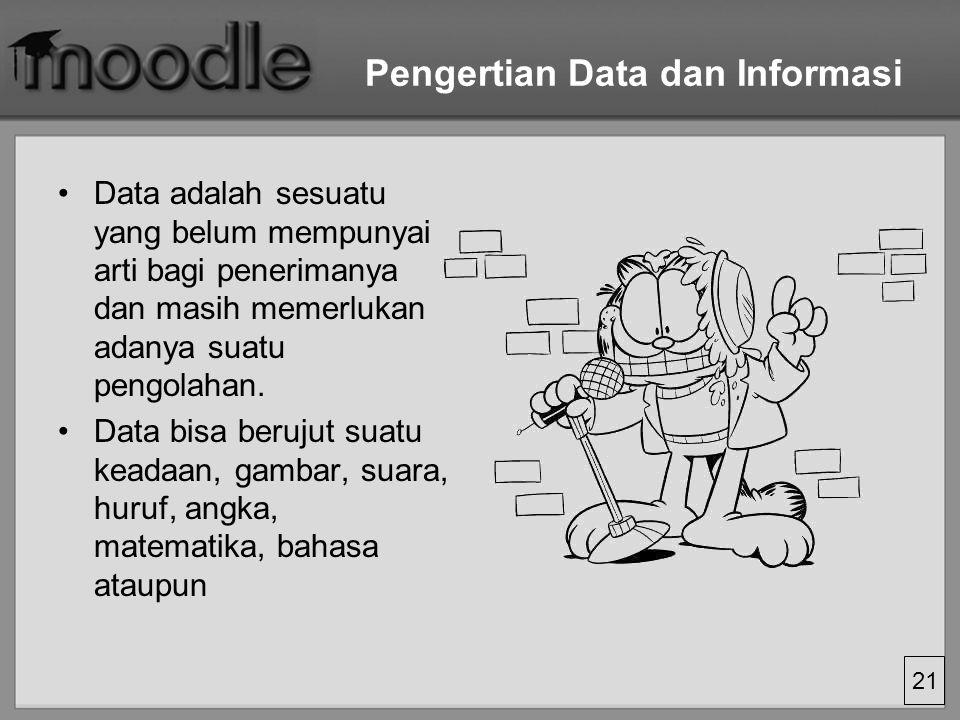 21 Pengertian Data dan Informasi Data adalah sesuatu yang belum mempunyai arti bagi penerimanya dan masih memerlukan adanya suatu pengolahan. Data bis