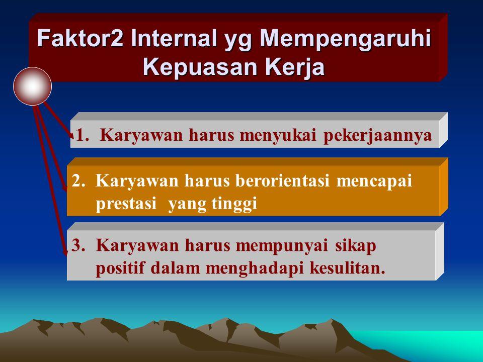 FAKTOR2 YG MENENTUKAN KEPUASAN KERJA A.Faktor Hubungan antar Karyawan : B.Faktor Individual ; meliputi : sikap, umur, dan jenis kelamin C.