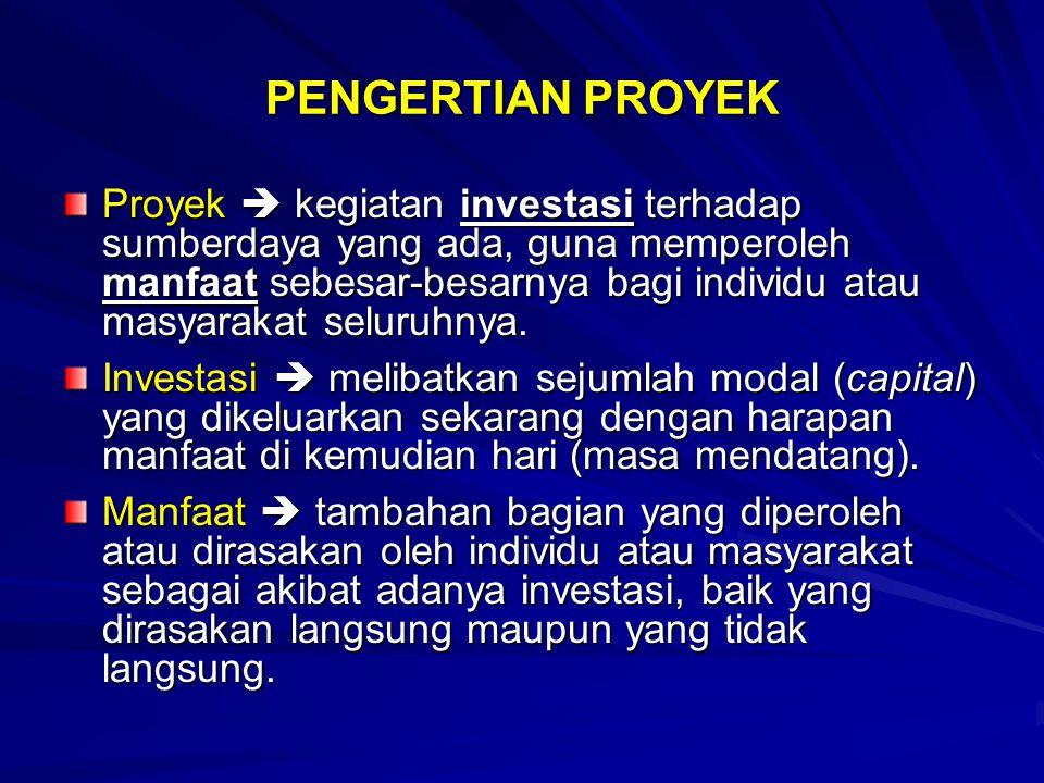 PENGERTIAN PROYEK Proyek  kegiatan investasi terhadap sumberdaya yang ada, guna memperoleh manfaat sebesar-besarnya bagi individu atau masyarakat sel