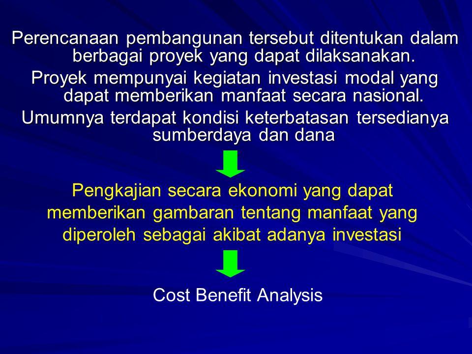 Perencanaan Pembangunan (Proyek-Proyek Pertanian) Menentukan Target Pembangunan yang akan dicapai Pengkajian terhadap individu proyek menjadi penting dengan pendekatan yang menggunakan teori Cost-Benefit Analysis atau Project Analysis