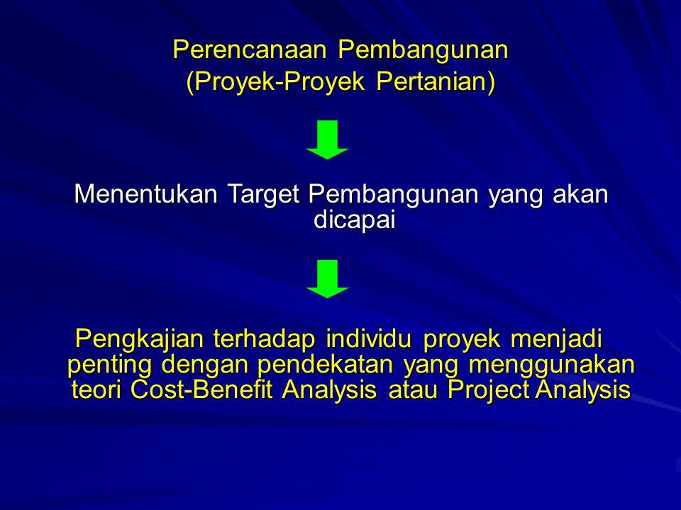 Perencanaan Pembangunan (Proyek-Proyek Pertanian) Menentukan Target Pembangunan yang akan dicapai Pengkajian terhadap individu proyek menjadi penting