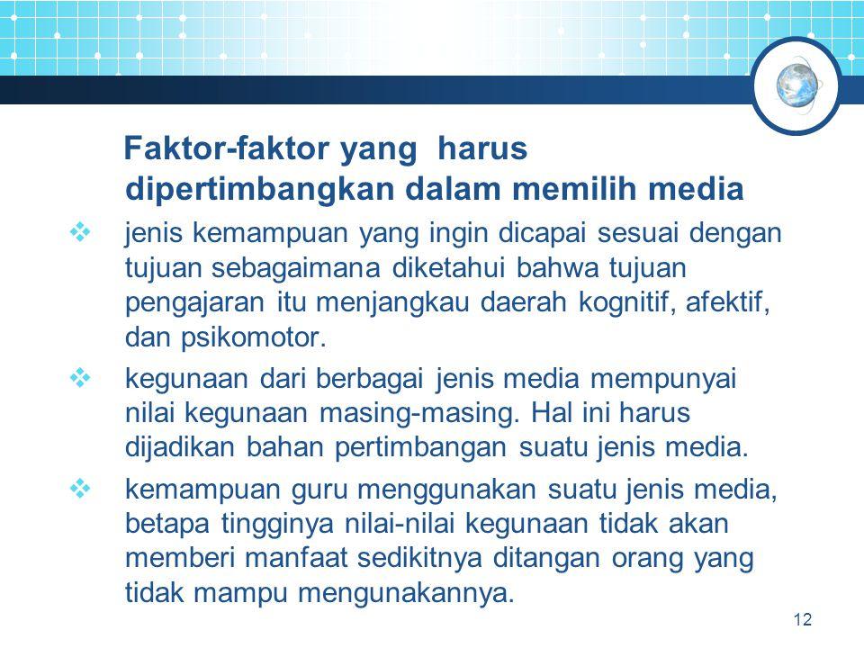 13 Faktor-faktor yang harus dipertimbangkan dalam memilih media  fleksibilitas tahan lama dan kenyamanan media.