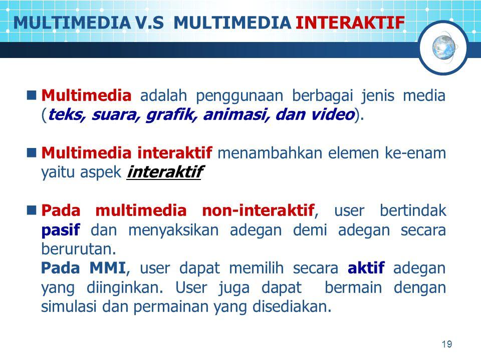 19 MULTIMEDIA V.S MULTIMEDIA INTERAKTIF Multimedia adalah penggunaan berbagai jenis media (teks, suara, grafik, animasi, dan video). Multimedia intera