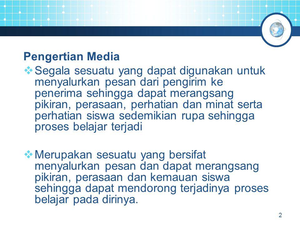 2 Pengertian Media  Segala sesuatu yang dapat digunakan untuk menyalurkan pesan dari pengirim ke penerima sehingga dapat merangsang pikiran, perasaan