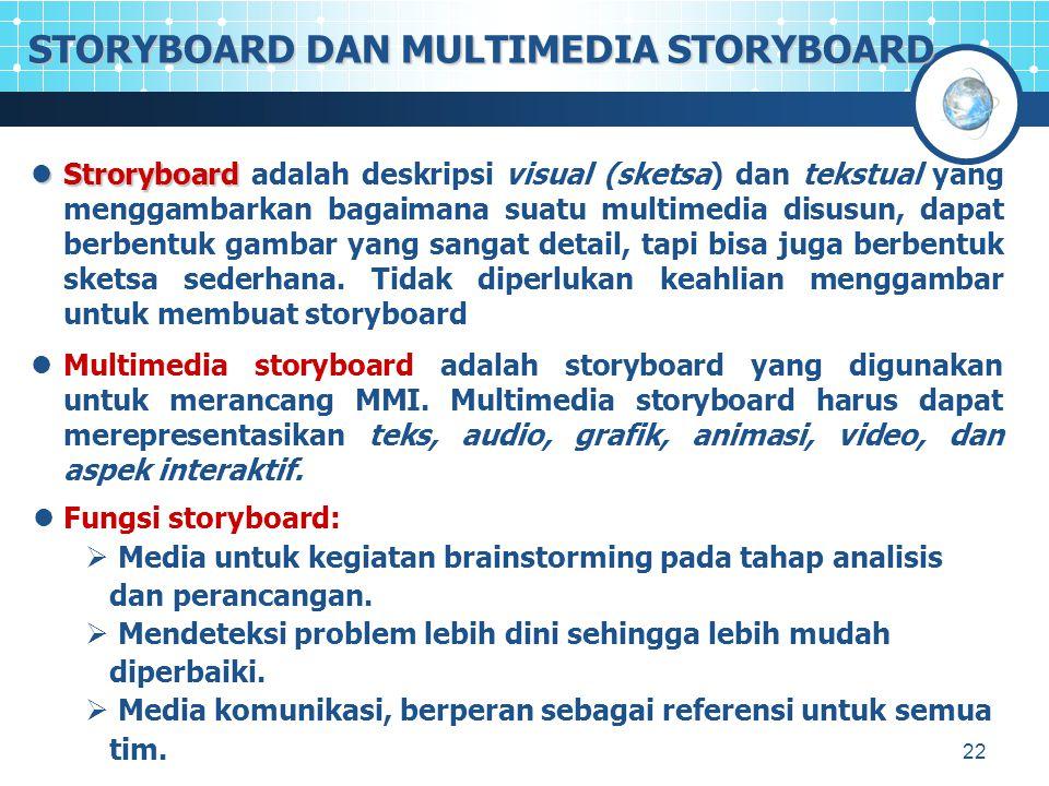 22 STORYBOARD DAN MULTIMEDIA STORYBOARD Stroryboard Stroryboard adalah deskripsi visual (sketsa) dan tekstual yang menggambarkan bagaimana suatu multimedia disusun, dapat berbentuk gambar yang sangat detail, tapi bisa juga berbentuk sketsa sederhana.