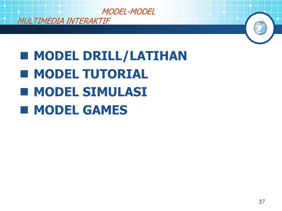 37 MODEL DRILL/LATIHAN MODEL TUTORIAL MODEL SIMULASI MODEL GAMES MODEL-MODEL MULTIMEDIA INTERAKTIF