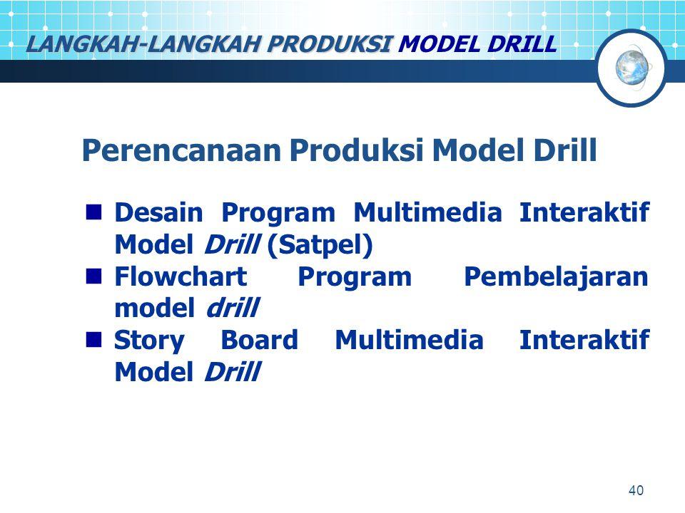 40 LANGKAH-LANGKAH PRODUKSI LANGKAH-LANGKAH PRODUKSI MODEL DRILL Perencanaan Produksi Model Drill Desain Program Multimedia Interaktif Model Drill (Sa