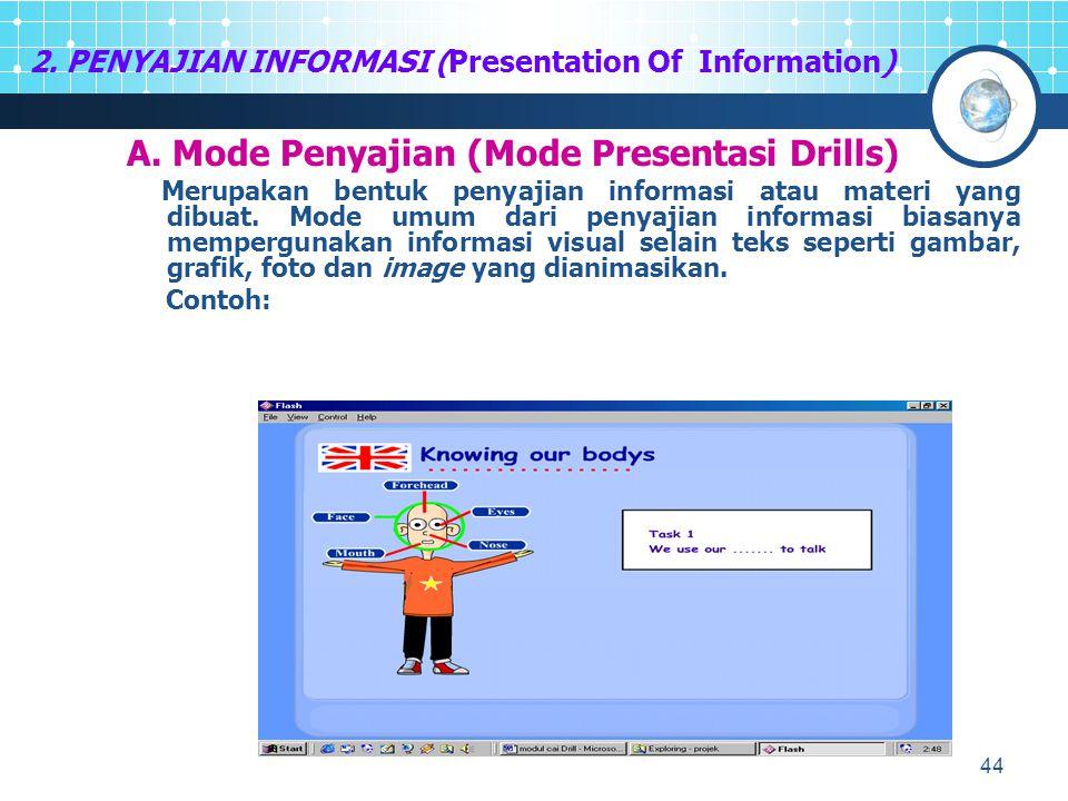 44 2. PENYAJIAN INFORMASI (Presentation Of Information) A. Mode Penyajian (Mode Presentasi Drills) Merupakan bentuk penyajian informasi atau materi ya