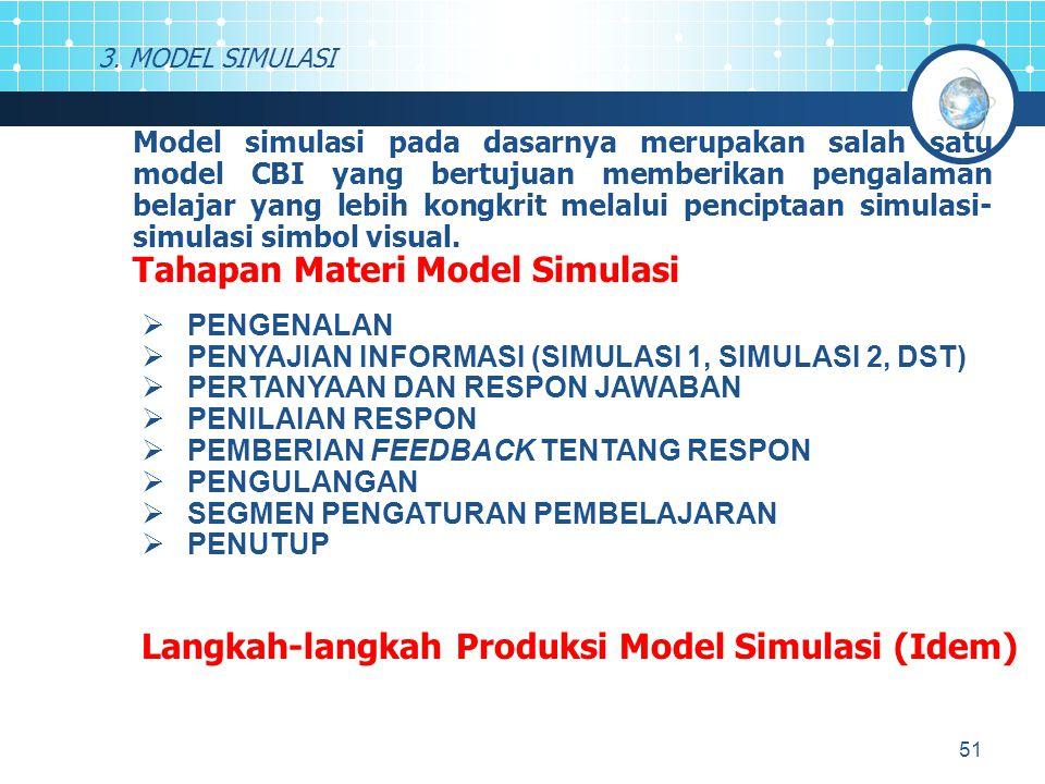 51 3. MODEL SIMULASI Model simulasi pada dasarnya merupakan salah satu model CBI yang bertujuan memberikan pengalaman belajar yang lebih kongkrit mela