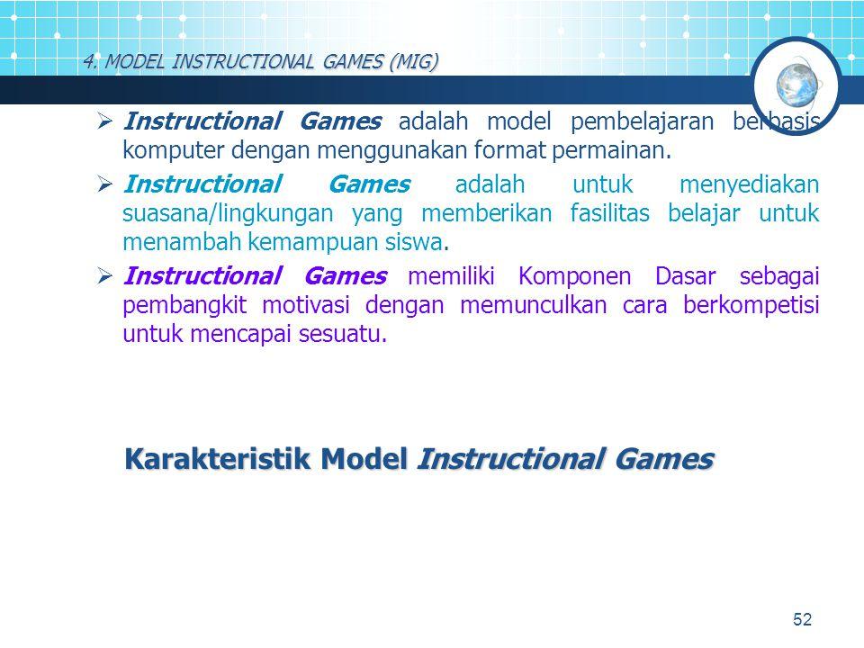 52 4. MODEL INSTRUCTIONAL GAMES (MIG)  Instructional Games adalah model pembelajaran berbasis komputer dengan menggunakan format permainan.  Instruc