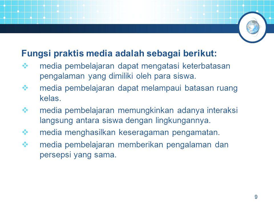 10 Klasifikasi Media  media audio visual gerak;  media audio visual diam;  media audio visual semi gerak;  media visual gerak;  media visual diam;  media visual semi gerak;  media audio, dan  media cetak.