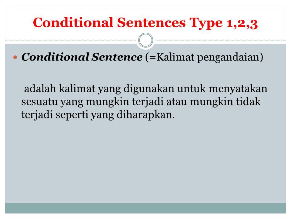 Conditional Sentences Type 1,2,3 Conditional Sentence (=Kalimat pengandaian) adalah kalimat yang digunakan untuk menyatakan sesuatu yang mungkin terja