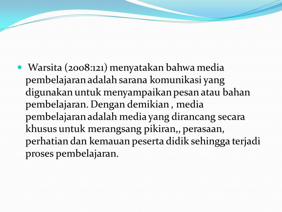 Warsita (2008:121) menyatakan bahwa media pembelajaran adalah sarana komunikasi yang digunakan untuk menyampaikan pesan atau bahan pembelajaran. Denga