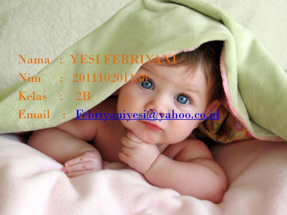 Nama : YESI FEBRIYANI Nim : 201110201138 Kelas : 2B Email : Febriyaniyesi@yahoo.co.idFebriyaniyesi@yahoo.co.id