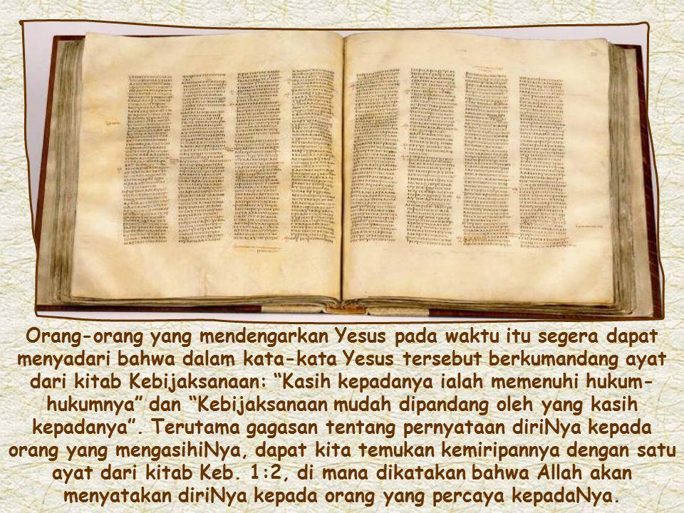 Kasih merupakan inti dari amanat Yesus yang terakhir: yaitu kasih Bapa terhadap Putra, dan kasih umatNya terhadap Yesus, yang berarti melakukan perint