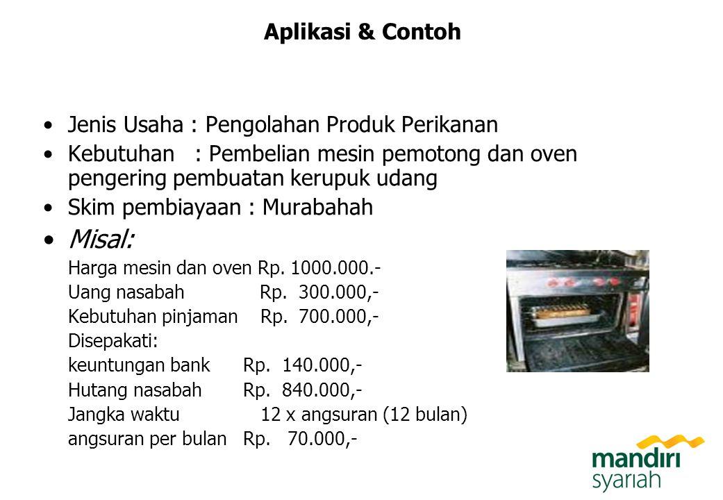 Aplikasi & Contoh Jenis Usaha : Pengolahan Produk Perikanan Kebutuhan : Pembelian mesin pemotong dan oven pengering pembuatan kerupuk udang Skim pembi