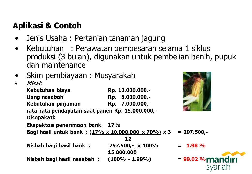 Aplikasi & Contoh Jenis Usaha : Pertanian tanaman jagung Kebutuhan : Perawatan pembesaran selama 1 siklus produksi (3 bulan), digunakan untuk pembelia