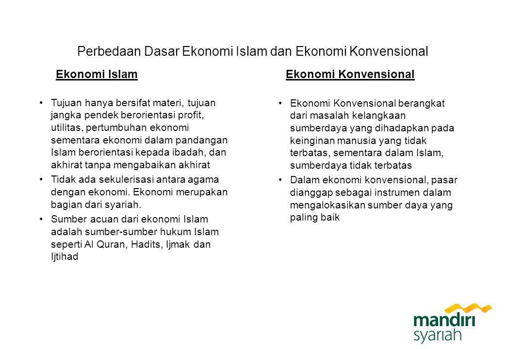 Perbedaan Dasar Ekonomi Islam dan Ekonomi Konvensional Ekonomi Islam Tujuan hanya bersifat materi, tujuan jangka pendek berorientasi profit, utilitas,