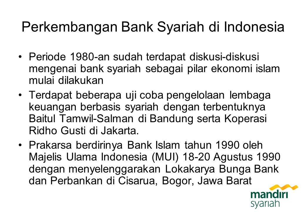 Perkembangan Bank Syariah di Indonesia Periode 1980-an sudah terdapat diskusi-diskusi mengenai bank syariah sebagai pilar ekonomi islam mulai dilakuka