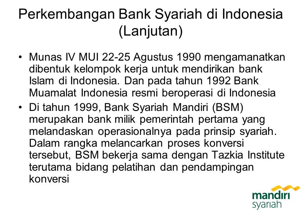 Perkembangan Bank Syariah di Indonesia (Lanjutan) Munas IV MUI 22-25 Agustus 1990 mengamanatkan dibentuk kelompok kerja untuk mendirikan bank Islam di