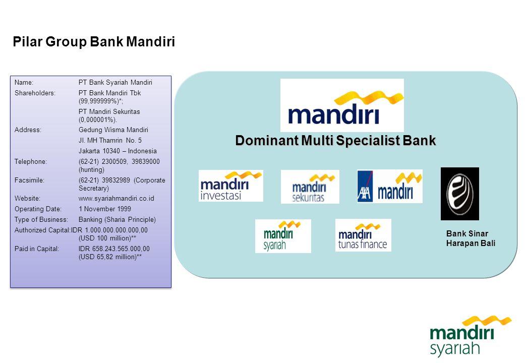 Pilar Group Bank Mandiri Dominant Multi Specialist Bank Name: PT Bank Syariah Mandiri Shareholders: PT Bank Mandiri Tbk (99,999999%)*; PT Mandiri Seku