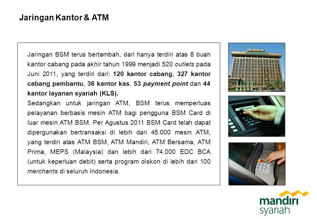 Jaringan Kantor & ATM Jaringan BSM terus bertambah, dari hanya terdiri atas 8 buah kantor cabang pada akhir tahun 1999 menjadi 520 outlets pada Juni 2