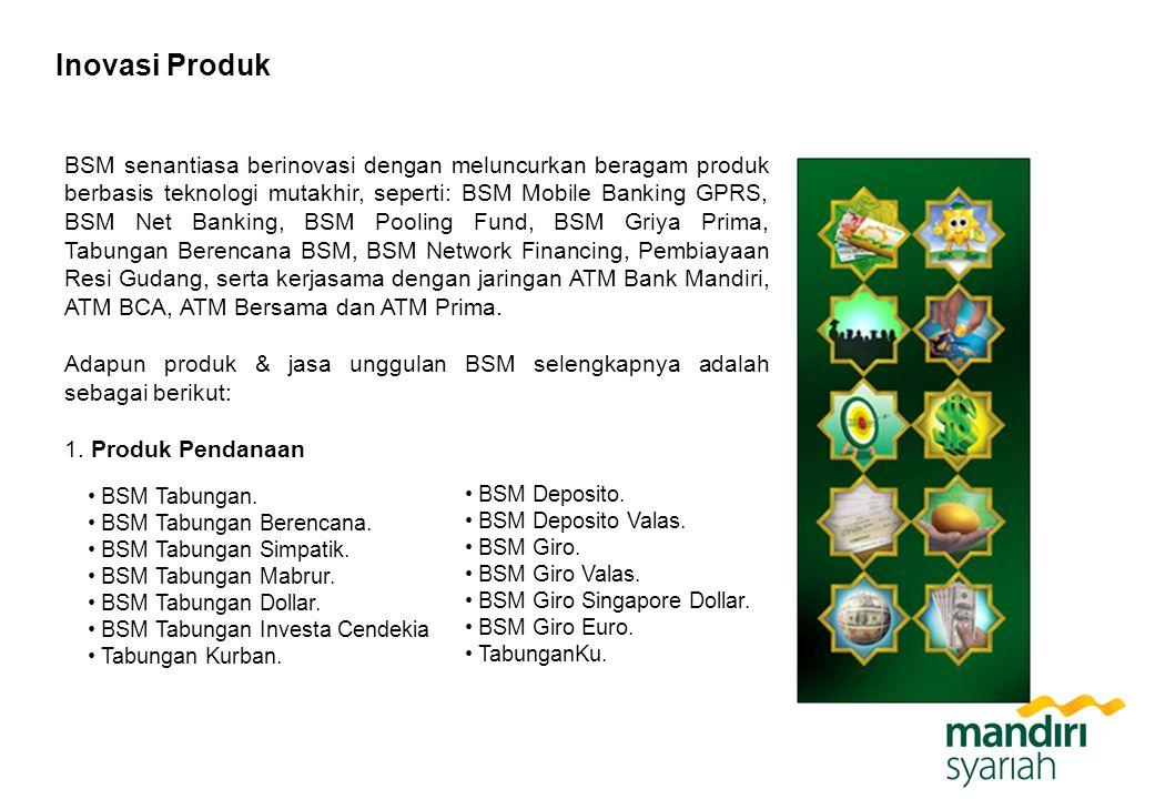 Inovasi Produk BSM senantiasa berinovasi dengan meluncurkan beragam produk berbasis teknologi mutakhir, seperti: BSM Mobile Banking GPRS, BSM Net Bank