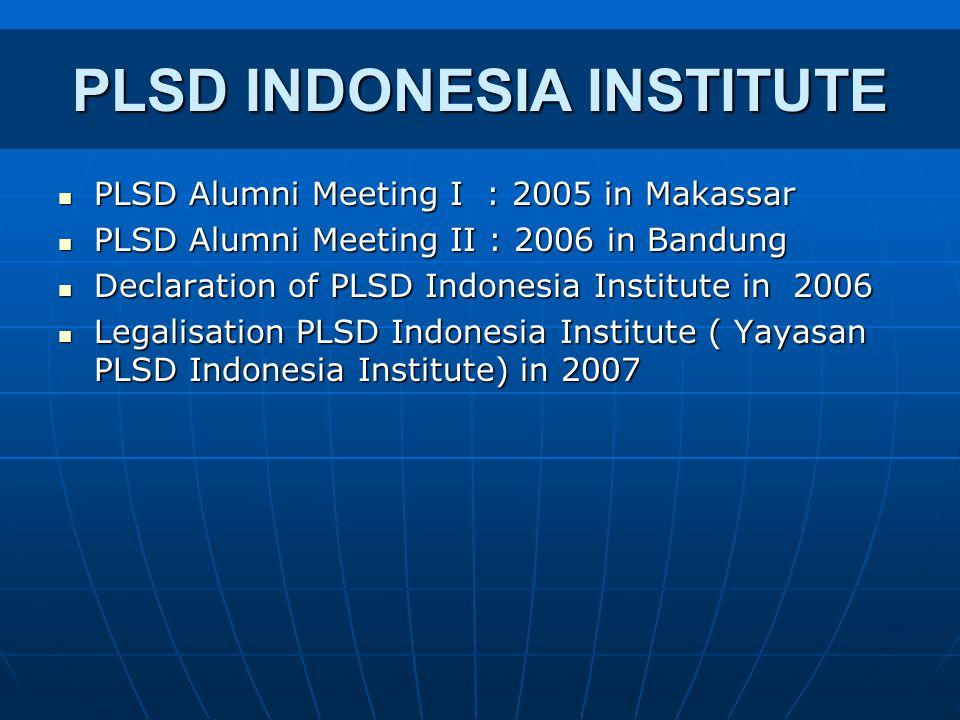 PLSD INDONESIA INSTITUTE PLSD Alumni Meeting I : 2005 in Makassar PLSD Alumni Meeting I : 2005 in Makassar PLSD Alumni Meeting II : 2006 in Bandung PL