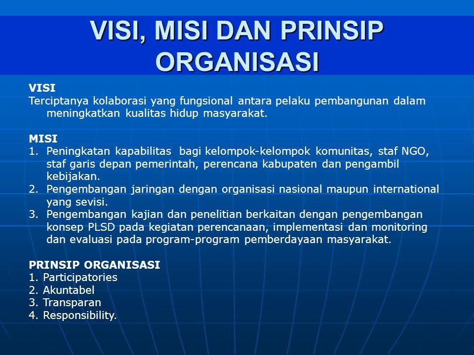 VISI, MISI DAN PRINSIP ORGANISASI VISI Terciptanya kolaborasi yang fungsional antara pelaku pembangunan dalam meningkatkan kualitas hidup masyarakat.