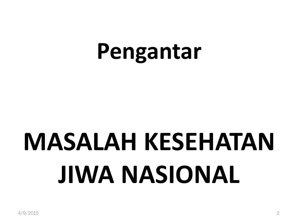 Pengantar MASALAH KESEHATAN JIWA NASIONAL 4/9/20152