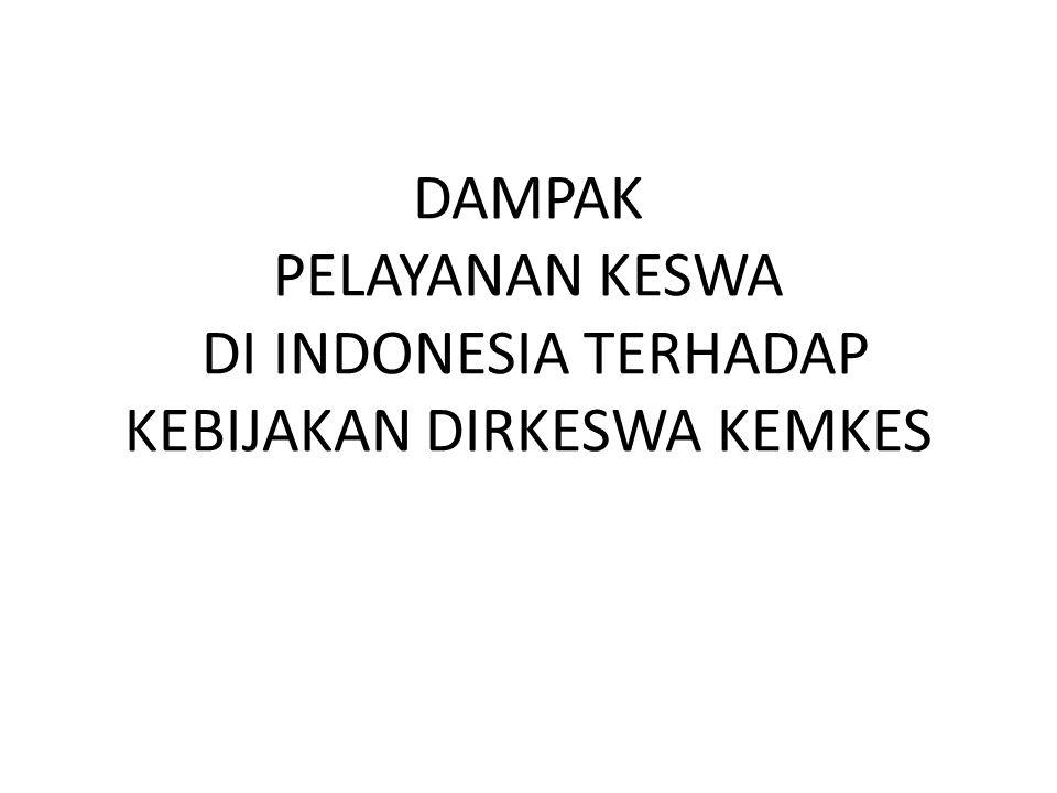 DAMPAK PELAYANAN KESWA DI INDONESIA TERHADAP KEBIJAKAN DIRKESWA KEMKES