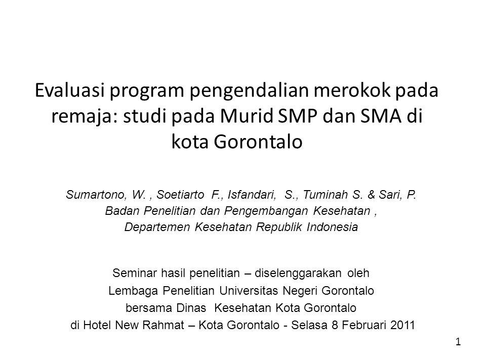 Evaluasi program pengendalian merokok pada remaja: studi pada Murid SMP dan SMA di kota Gorontalo Sumartono, W., Soetiarto F., Isfandari, S., Tuminah S.