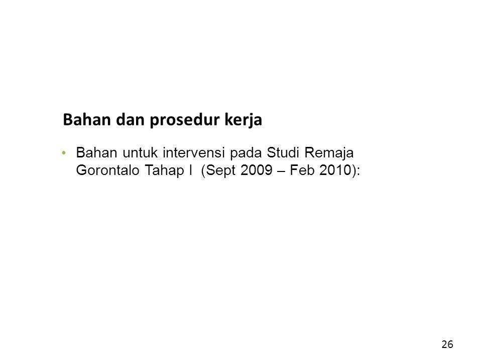 Bahan dan prosedur kerja Bahan untuk intervensi pada Studi Remaja Gorontalo Tahap I (Sept 2009 – Feb 2010): 26