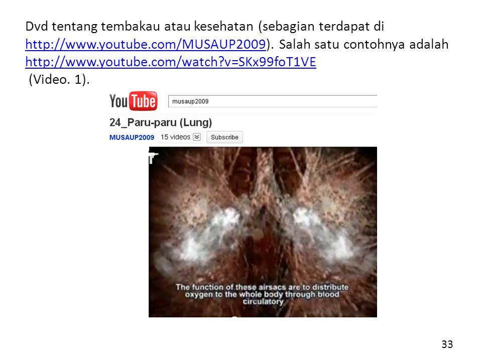 Dvd tentang tembakau atau kesehatan (sebagian terdapat di http://www.youtube.com/MUSAUP2009).