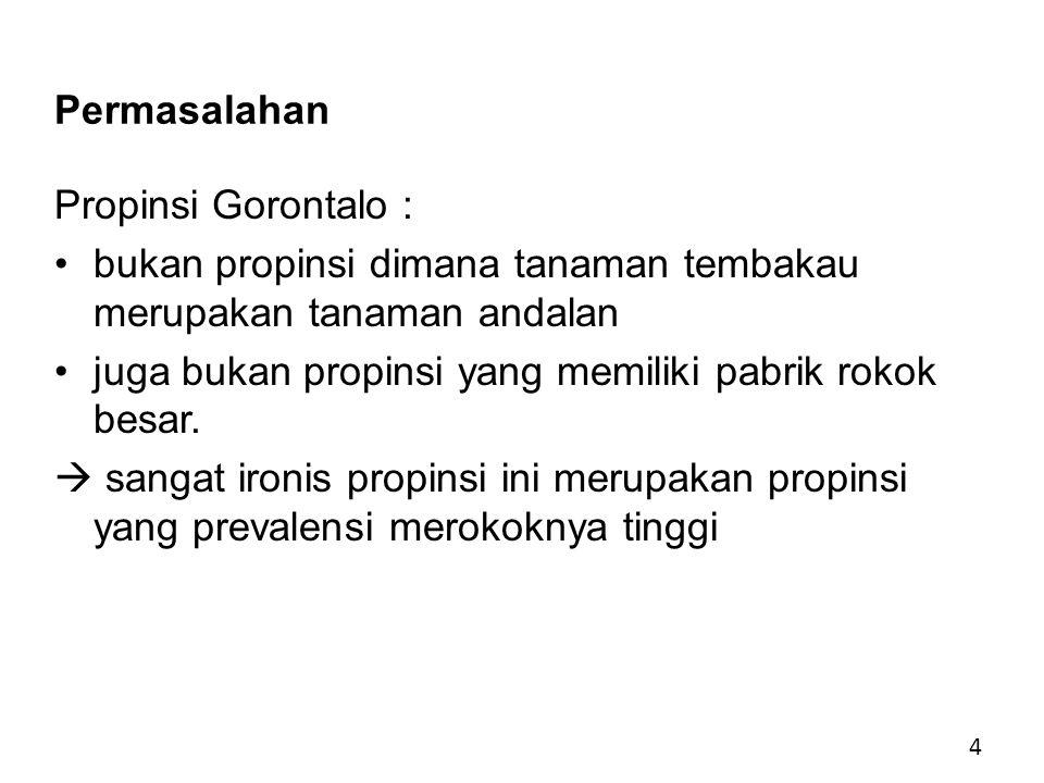 Permasalahan Propinsi Gorontalo : bukan propinsi dimana tanaman tembakau merupakan tanaman andalan juga bukan propinsi yang memiliki pabrik rokok besar.