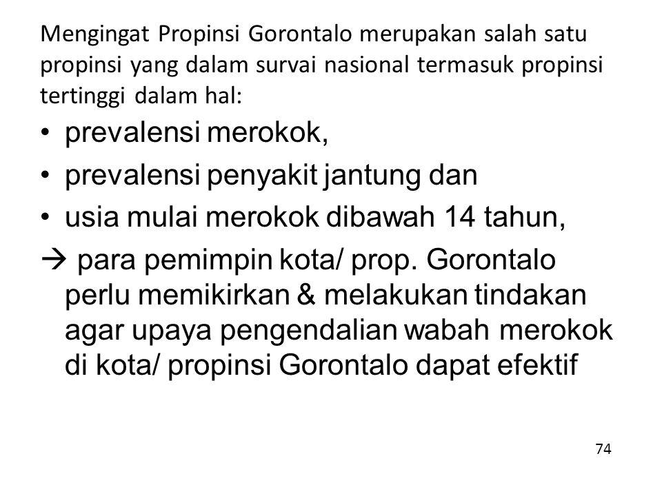Mengingat Propinsi Gorontalo merupakan salah satu propinsi yang dalam survai nasional termasuk propinsi tertinggi dalam hal: prevalensi merokok, prevalensi penyakit jantung dan usia mulai merokok dibawah 14 tahun,  para pemimpin kota/ prop.