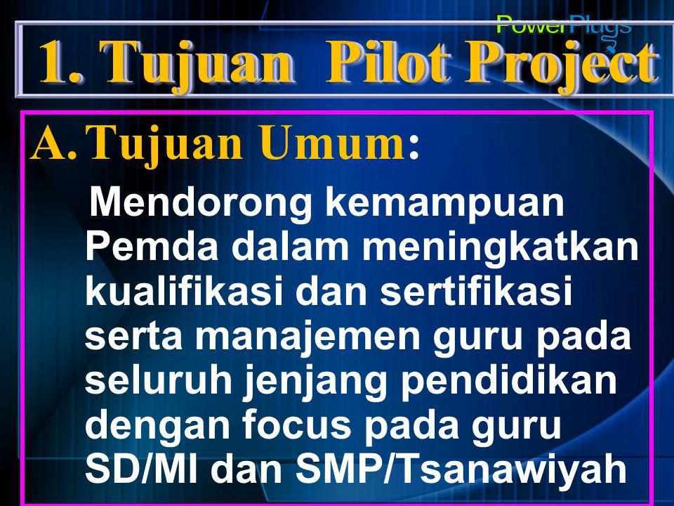 1.Tujuan Pilot Project B.Tujuan Khusus: 1.