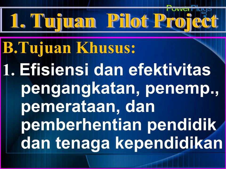 1.Tujuan Pilot Project B.Tujuan Khusus: 2. Peningkatan Kualifikasi pend.